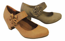 New Retro Vintage Style 1930's 1940s WW2 Wartime Mid Heel Mary Jane Court Shoes