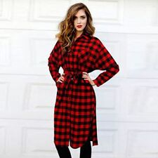 Women Lady Long Sleeve Plaid Check Straight Tunic Casual Blouse Dress with Belt