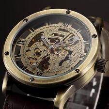 Mens Retro Bronze Steampunk Skeleton Automatic Mechanical Sport Wrist Watch I5N7