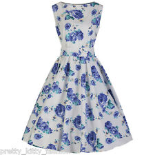 PRETTY KITTY ROCKABILLY WHITE FLORAL COTTON VINTAGE SWING AUDREY 50s DRESS 10-22