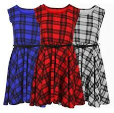 Womens Plus Size Belted Scoop Neck Flared Tartan Check Skater Swing Dress 8-26