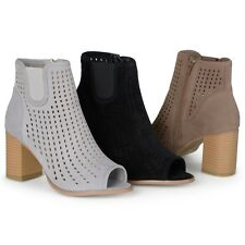 Brinley Co. Womens Faux Suede Chunky Heel Open Toe Booties
