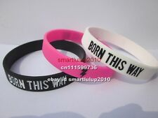 50pcs/lot GAY PRIDE BTW Silicone Debossed Filled in Colour Wristband Bracelet