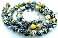 "SALE Charming! small 8mm Yellow Multicolor Round agate beads strands 15"" -los579"