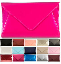 NEW LADIES PATENT 3D PARTY PROM BRIDAL ENVELOPE EVENING CLUTCH PURSE HAND BAG