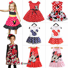 Cute Baby Girls Minnie Mouse Dress Kids Cartoon Tops Clothes Party Skater Skirts