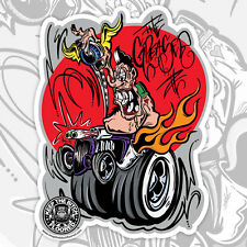 """RAT ROD HOT ROD DECAL STICKER - KEEP THE BITCH FLOORED 