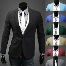 New Fashion Stylish Mens Casual Slim Fit One Button Suit Blazer Coat Jacket Tops