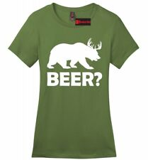Beer Deer Bear Funny Ladies Soft Cotton T Shirt Hunting Guns Beer Party Tee Z4