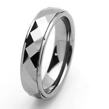6MM Comfort Fit Tungsten Carbide Wedding Band Domed Faceted Stepped Edge Ring