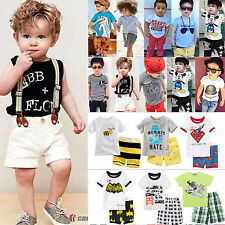 Baby Toddler Kids Boys T-shirt Tops + Pants Outfits Shorts Shirt Set Tracksuit