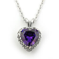 Sterling Silver Simulated Amethyst & Cubic Zirconia Heart Halo Pendant Necklace