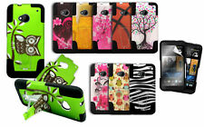 HTC One M7 Hybrid Hard Case Dual Layer Stand Cover W/  Soft Silicone Skin