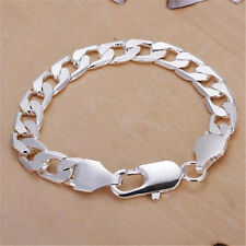Silver Plated 6MM & 8MM Chain Charm Men Bracelet & Bangle Circulet Jewelery Fine