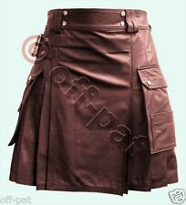 Real Leather BROWN Utility Kilt CARGO Pockets Pleated Twin Buckles Mans Mens