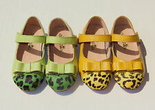 Toddler Baby Girl Shoes kids shoes dress Genuine Leather mary janes leopard bow