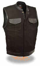Mens SOA Biker Vest Leather Trimmed Black Denim w/ Gun Pockets Snap/Zipper Front