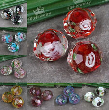 10x Czech Glass Faceted Rondelle Lampwork Loose Beads Encased Rose Flower 7x10mm