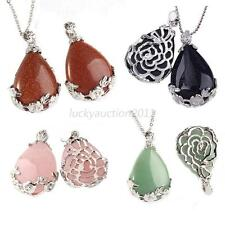 Fashion Natural Quartz Rock Teardrop Flower Pattern Bead Pendant Necklace Hot