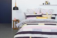 Domino Queen Size Quilt / Doona Cover Set Graphic Stripes 3 or 5 Pce Set New