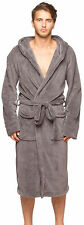 Mens New Charcoal Micro Fleece Hooded Bathrobe by Wanted