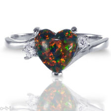Love Heart Australian Black Fire Opal Engagement CZ Genuine Sterling Silver Ring