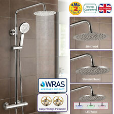 NIKI ROUND LED SLIM TWIN HEAD THERMOSTATIC SHOWER MIXER VALVE TAP WRAS APPROVED