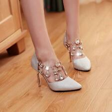 Womens high heels pumps chic Rhinestone pointy toes stilettos date sandals shoes