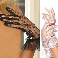 Lace Wrist Length Gloves with Ruffle Trim EM1260