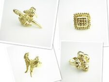 Gold Plated 4 Style Angel Wings Claw Skull Head Square Bead Ring Size Adjustable