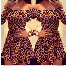 Off Shoulder Long Sleeve Leopard Sexy Mini Slim Dress Casual Party Bodycon Dress