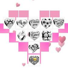 Authentic 925 Sterling Silver Charms Heart Bead For European Snake Bracelet A8N9