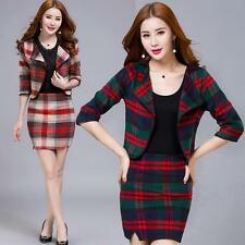 Fashion Womens Woolen Jacket & Skirts Long Sleeve Coat Casual Dresses Sweet