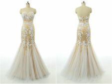 Appliques Strapless Mermaid Prom Dresses New Long Tulle Formal Evening Prom Gown