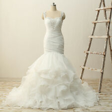 White/Ivory Sweetheart New Long Mermaid Organza Ruffled Wedding Dress BridalGown