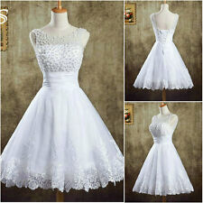 New Short White Ivory Wedding Dresses Organza Formal Bridal Party Prom Ball Gown