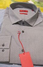 NWT HUGO BOSS SHIRT RED LABEL $125 yr round SLIM  EASTONX MODEL STRIKING GRAY