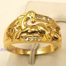 8,9,10# 11mm4g RUNNING HORSE CZ STONE 18K YELLOW GOLD PLATED RING SOLID FILL GP