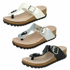 Ladies Summer Slip On Wedge Mule With Buckle Spot On Label-F10291