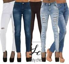Ladies Ripped Sexy Skinny Jeans Womens High Waist Jegging Plus Size 8-22