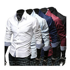 Men's Long Sleeve Shirts Button Down Slim Fit Business Casual Solid Multi Colors