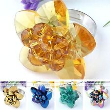 Womens Flower Crystal Glass Faceted Beads Adjustable Cocktail Finger Ring Gift