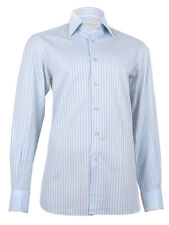 Stefano Ricci Men's Light Blue Striped Cotton Couture Shirt, 38(15), 42(16 1/2)