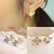 1 Pair Fashion Women Lovely Elegant Crystal Rhinestone Square Ear Stud Earring