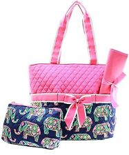 Multi Elephant Print Quilted Diaper Bag 3 Pc Set