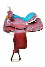 """NEW WESTERN 15"""" LEATHER BARREL RACING TRAIL PLEASURE HORSE SADDLE WITH TACK SET"""