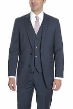 Alfani Classic Fit Navy Blue Pinstriped Two Button Three Piece Wool Blend Suit