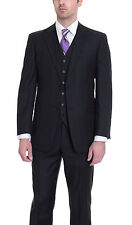 Tommy Hilfiger Trim Fit Black Pinstriped Two Button Three Piece Wool Suit
