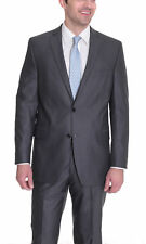 Alfani Red Slim Fit Blue Gray Pinstriped Two Button Suit