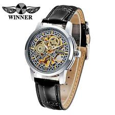 WINNER Men Women Automatic Mechanical Hollow Skeleton Leather Wrist Watch R7C5